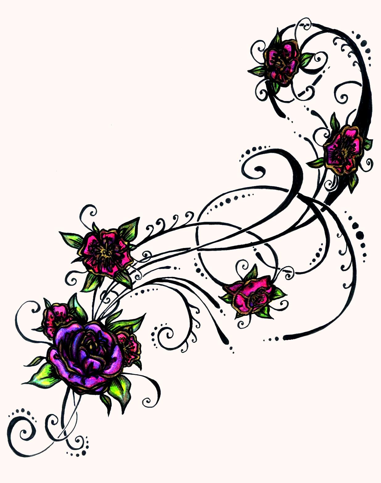 purple flower tattoos design