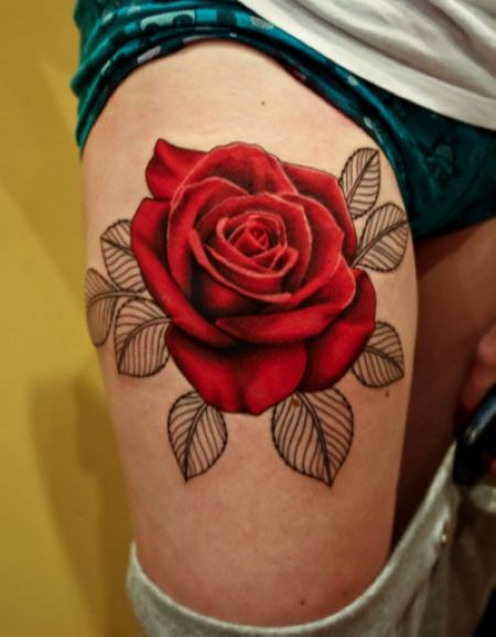 Red rose flower tattoo on right thigh for Red flower tattoo