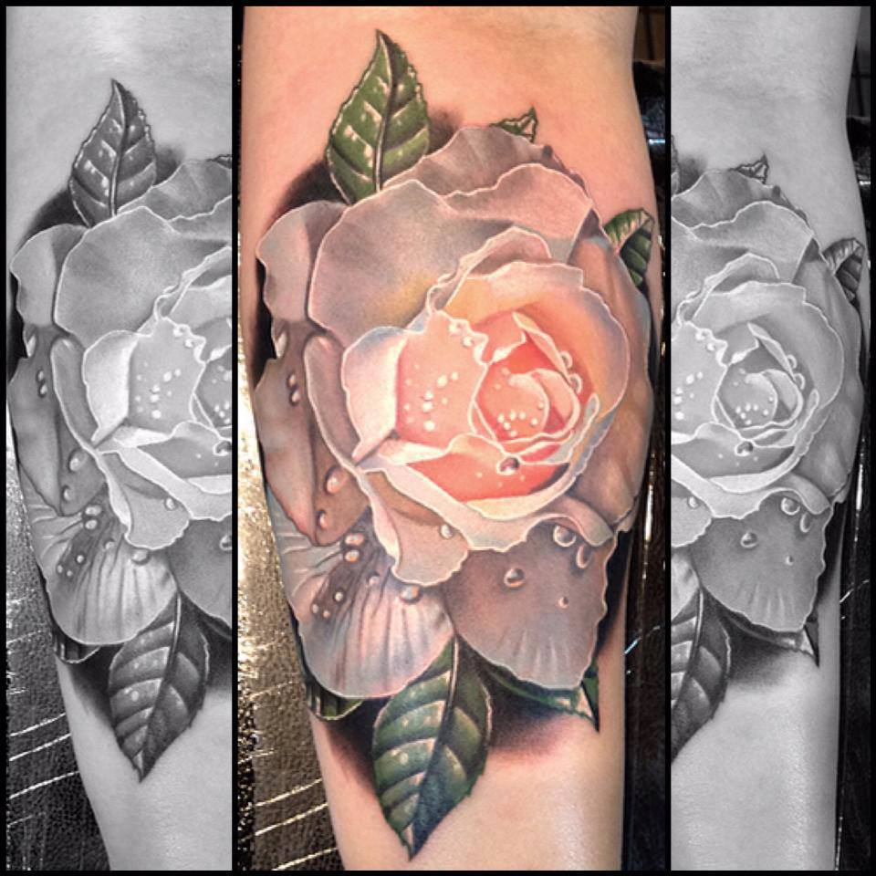 Black And Pink Rose Tattoo