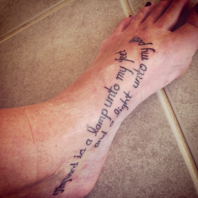 Bible Quote Foot Tattoo