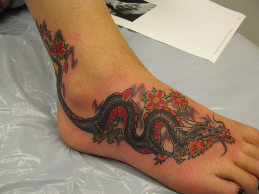 cherry blossom flowers and dragon foot tattoo. Black Bedroom Furniture Sets. Home Design Ideas
