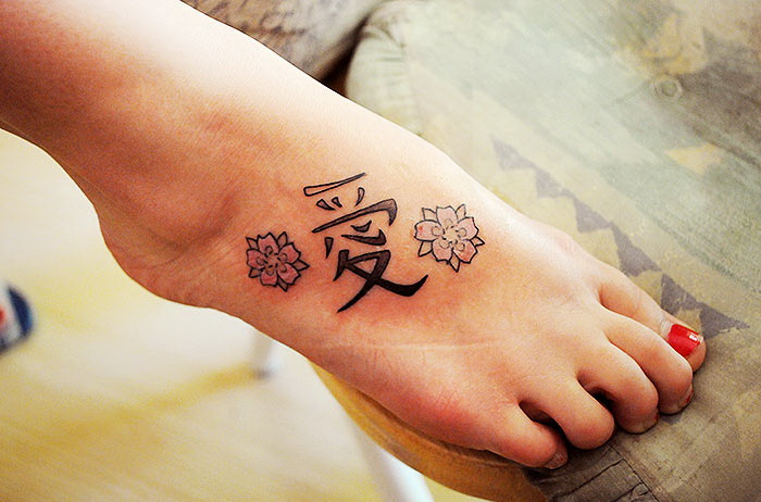 Chinese Symbol And Flowers Foot Tattoo