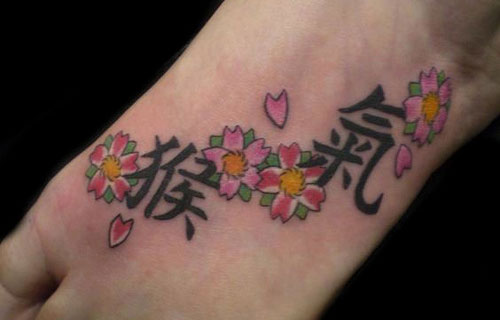Foot tattoo images designs for Chinese cherry blossom tattoo