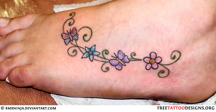 Foot tattoo images designs for Flower and butterfly tattoo