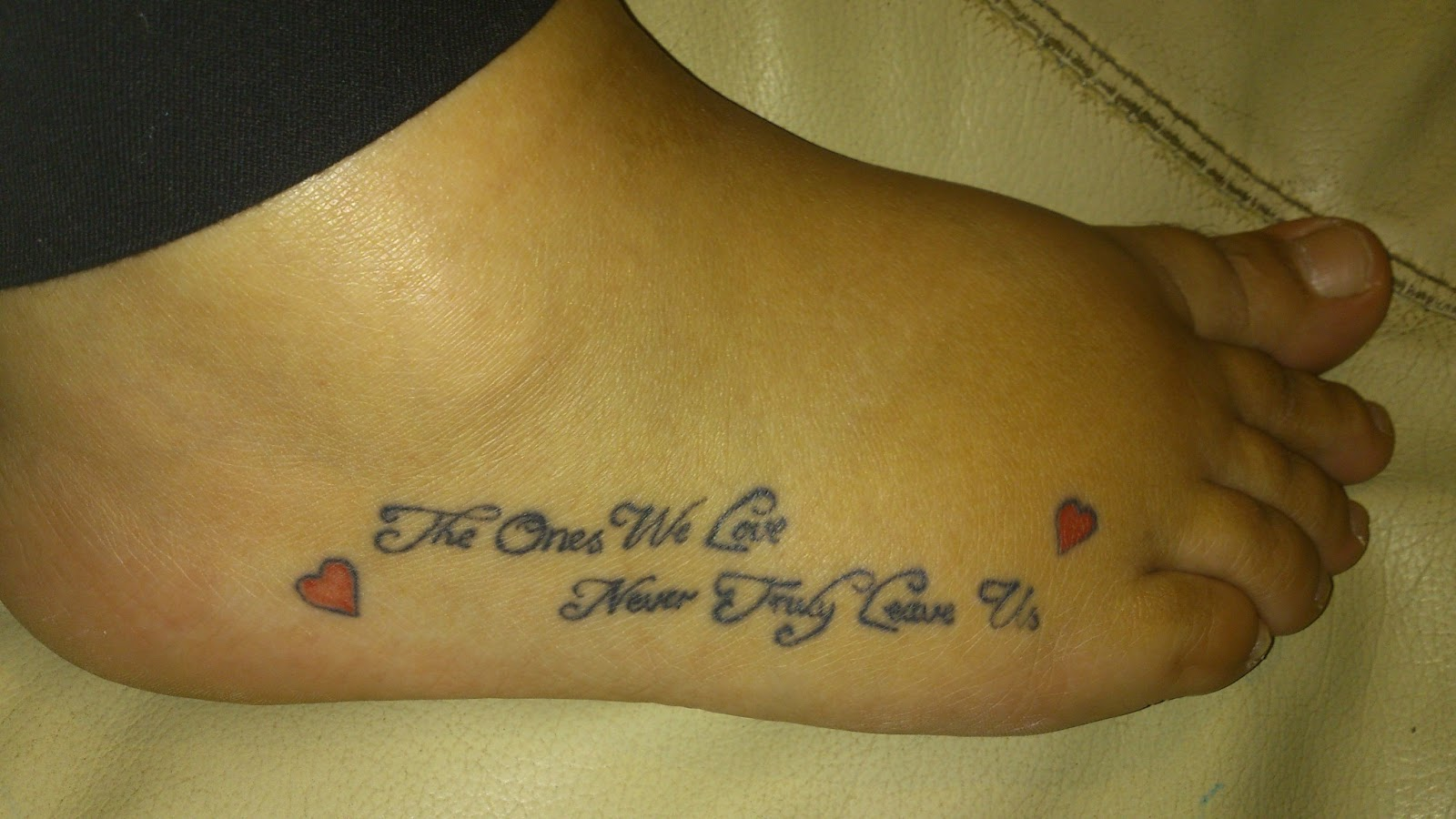 Family foot tattoo on foot for Tattoo saying about family