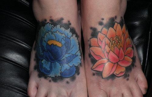 Lotus Flowers Tattoos On Feet