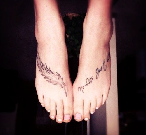 The World At My Feet – Quote Foot Tattoo