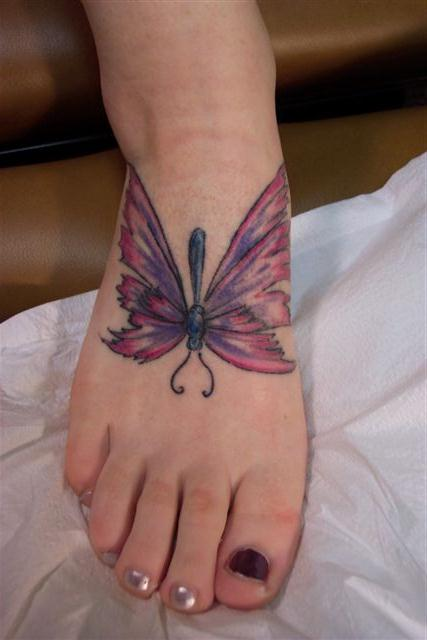 awesome color butterfly foot tattoo for girls. Black Bedroom Furniture Sets. Home Design Ideas