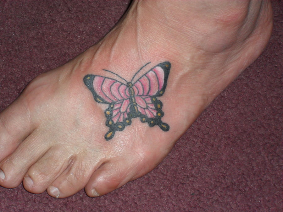 Foot tattoo images designs for Cute butterfly tattoos