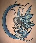 moon and fairy tattoo design. Black Bedroom Furniture Sets. Home Design Ideas