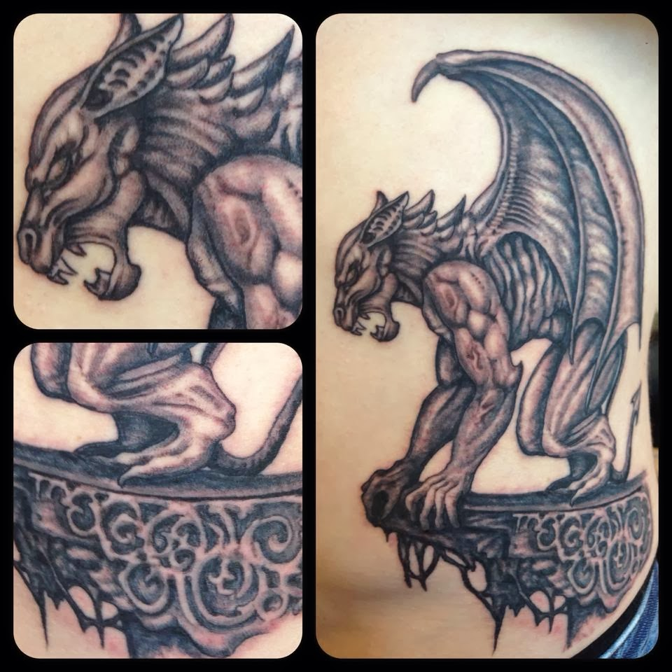 Awesome Grey Ink Gargoyle Tattoos DesignsGargoyles Tattoos Meaning
