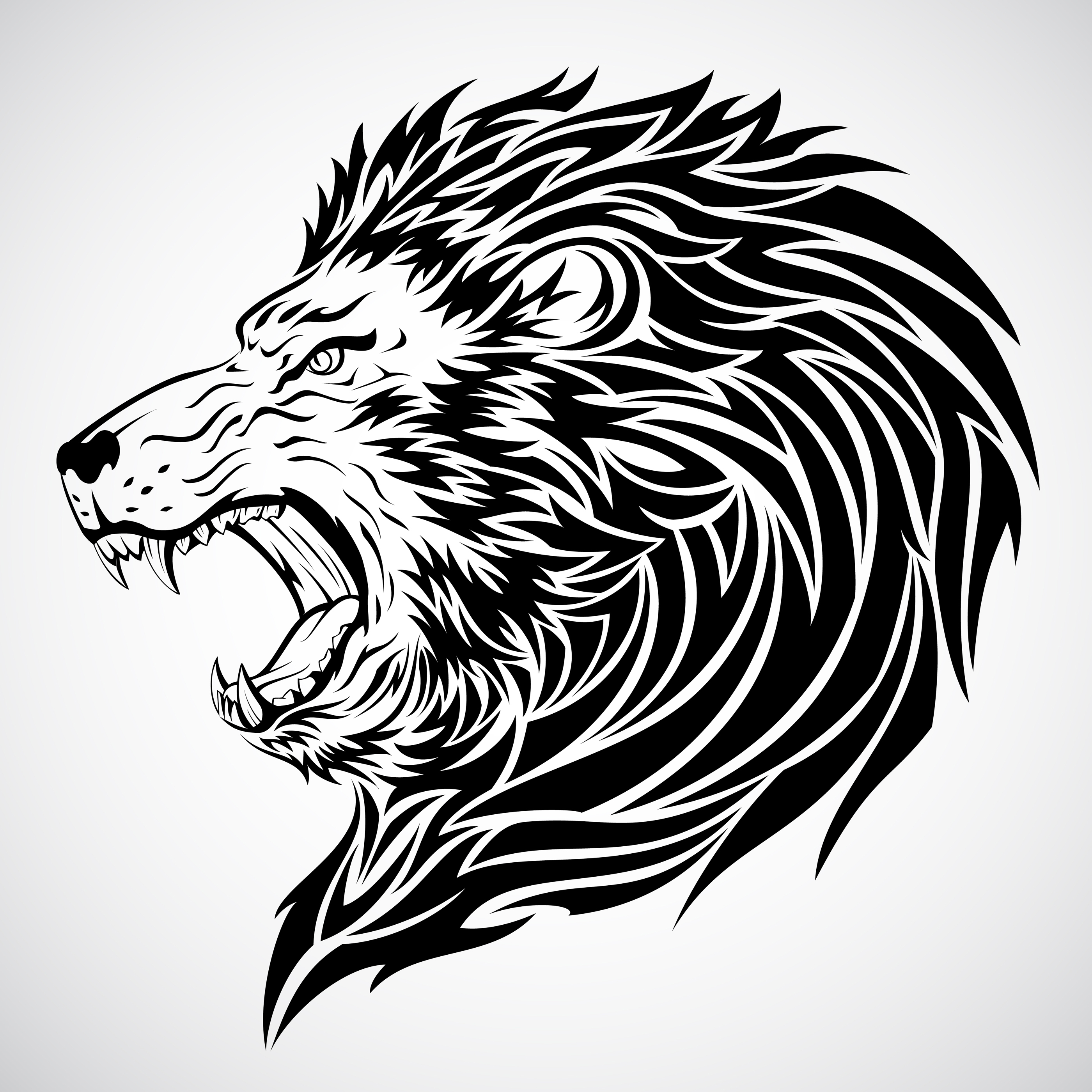 Beautiful black ink tribal lion head tattoo design for Black and white lion tattoo