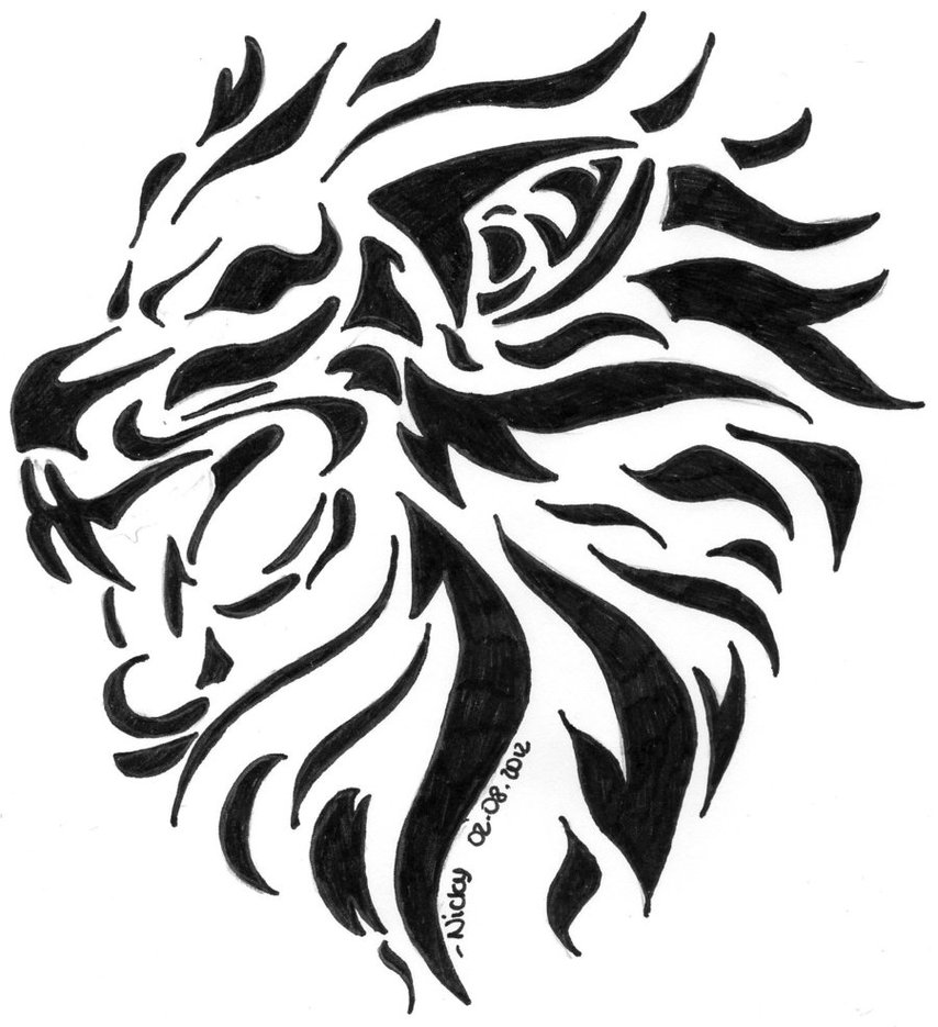 Black tribal lion tattoo design art for Black and white lion tattoo