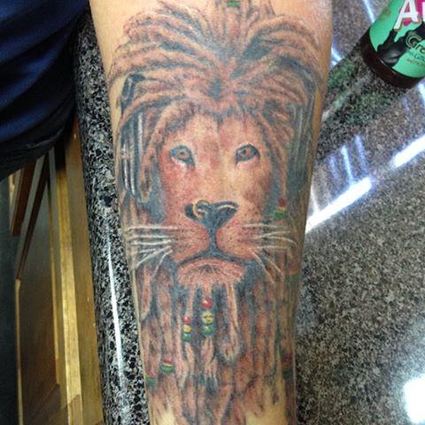 dc7156eda Grey Ink Native Lion Tattoo On Sleeve