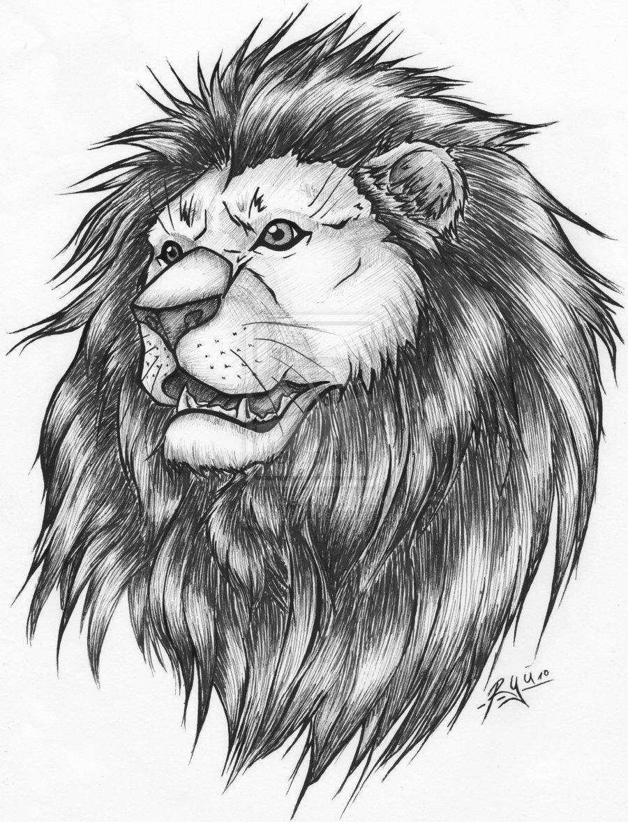special grey ink lion tattoo design. Black Bedroom Furniture Sets. Home Design Ideas
