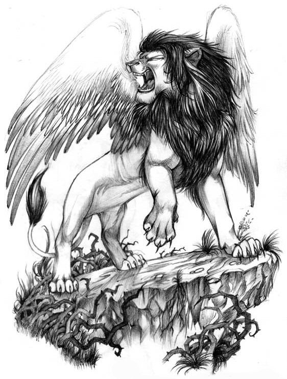 Winged lion tattoo - photo#17