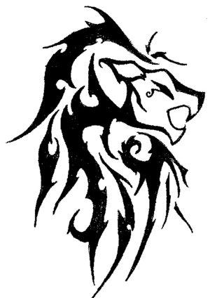 989edc46f99fd Wonderful Black Tribal Lion Tattoo Design