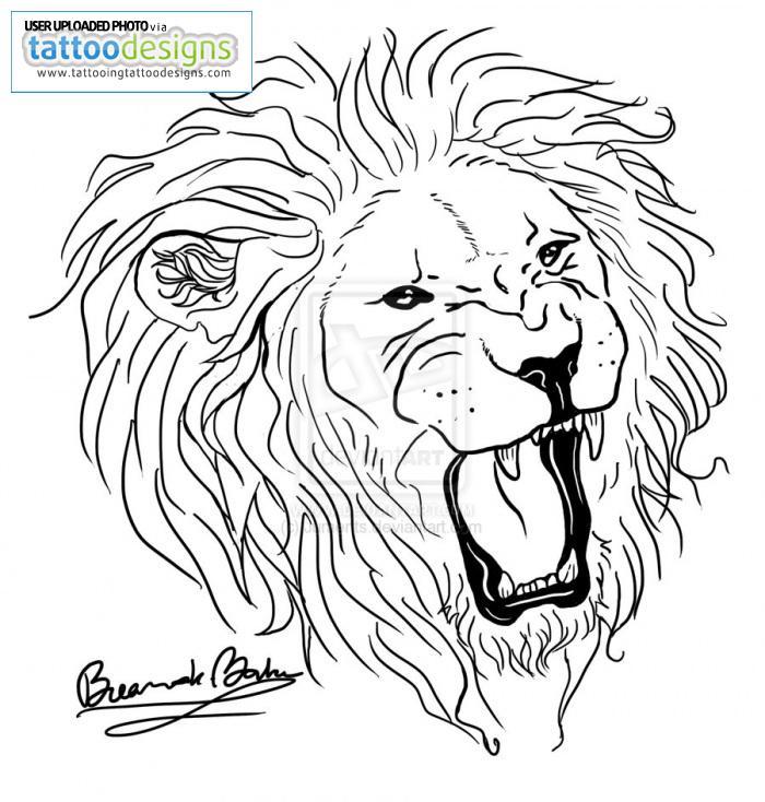 Awesome Roaring Lion Head Tattoo Design