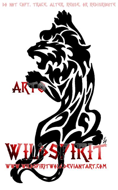 Black Ink Tribal Lion Tattoo Design