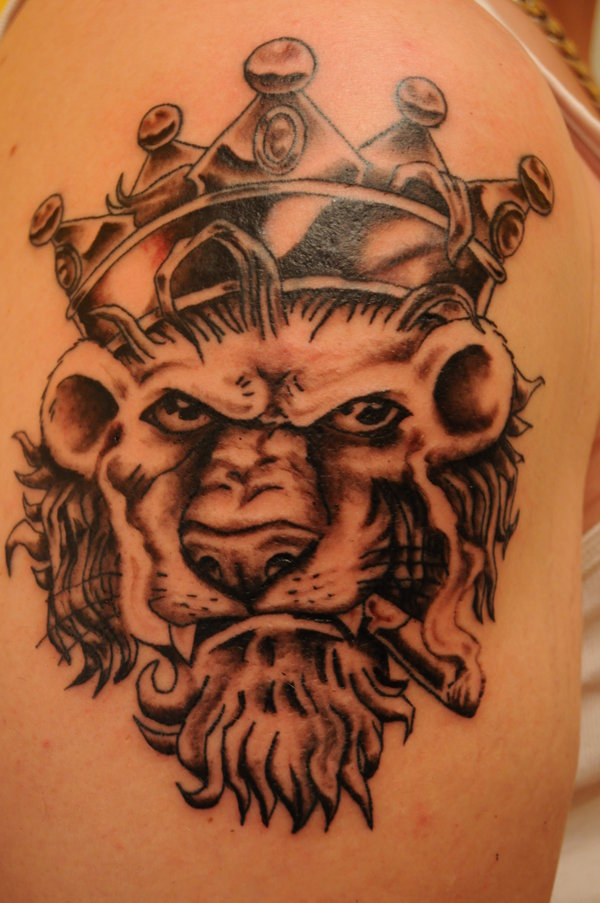 Crown lion head tattoo for Die hard tattoo albany oregon