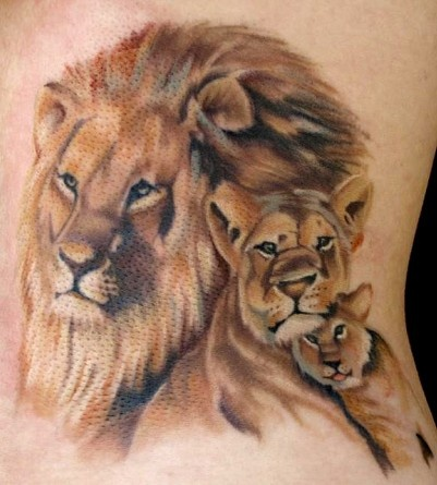 Lion and cubs tattoos for Lion and cub tattoo