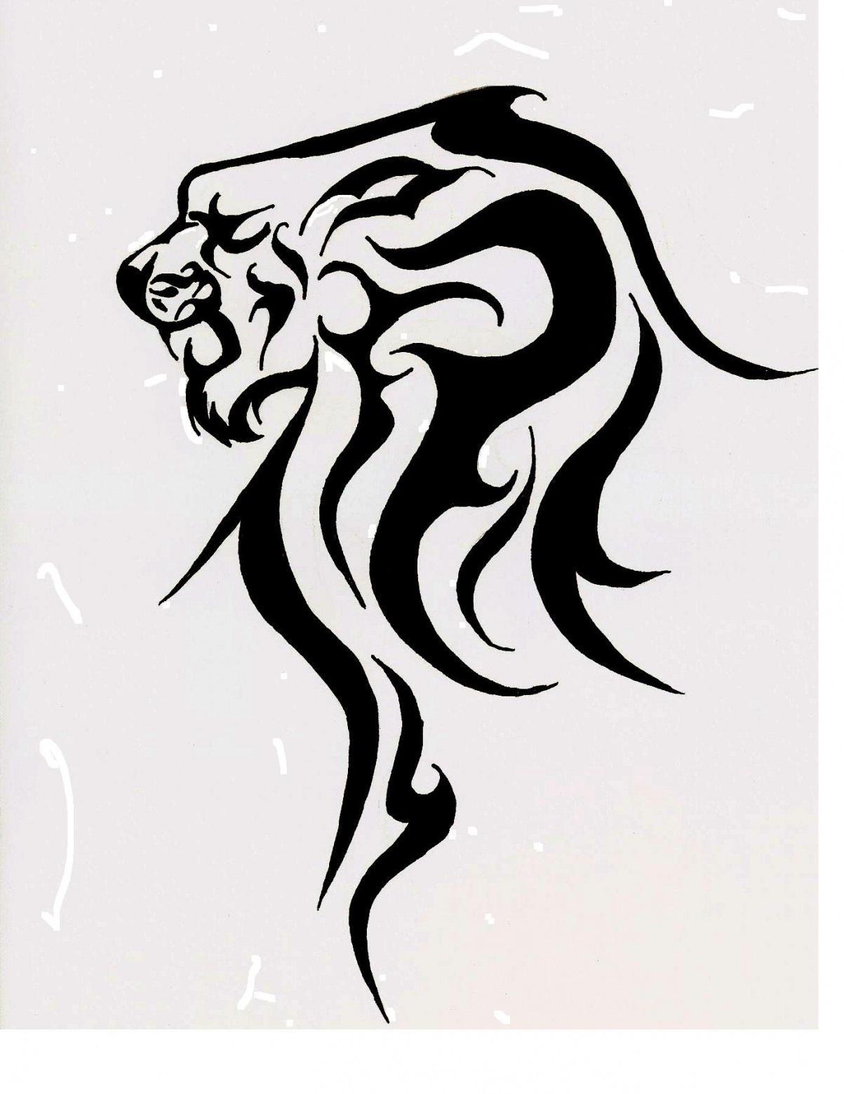 Egyptian Lion Drawing Tribal Lion Head Tattoo Design