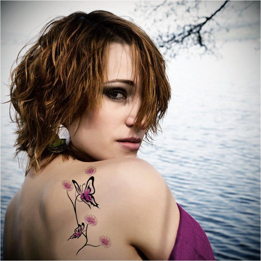 Amazing butterfly women back shoulder tattoo for Back shoulder tattoos for women