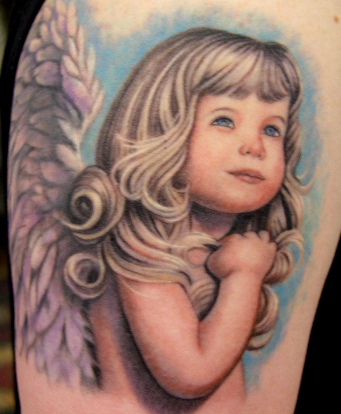 30 Beautiful Angel Tattoos For Girls: Angel Baby Girl Women Tattoo