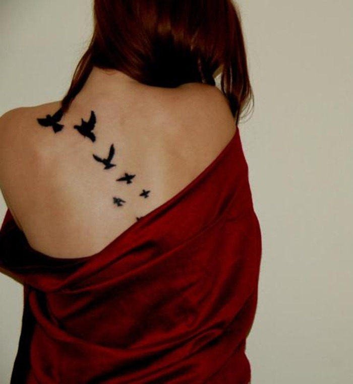 Black Ink Flying Birds Tattoos On Back For WomenTattoos For Black Women On Lower Back