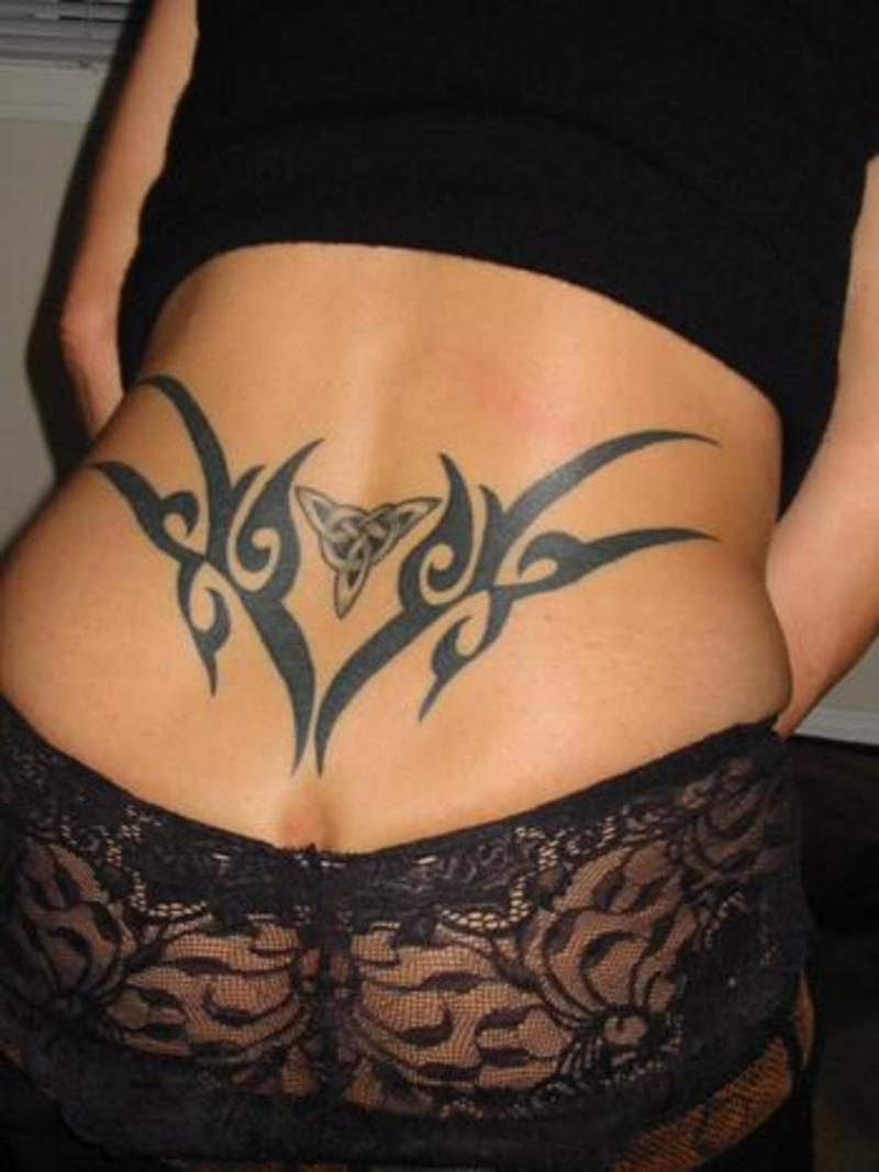 Black Ink Tribal And Celtic Women Tattoo For Girls