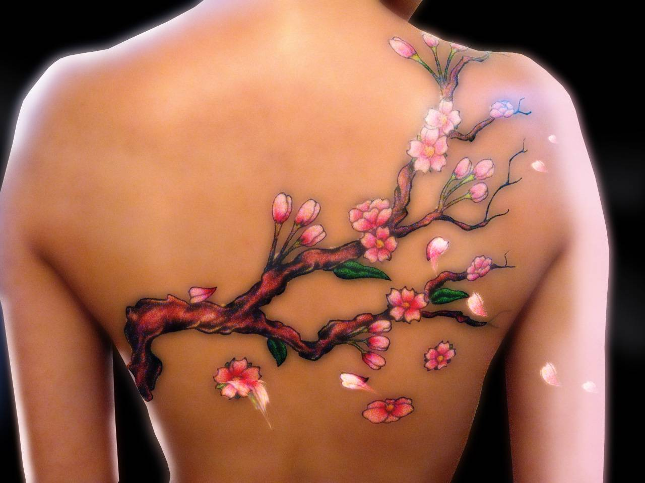 Butterfly Chest Tattoos For Women Cherry Blossom Tree Women