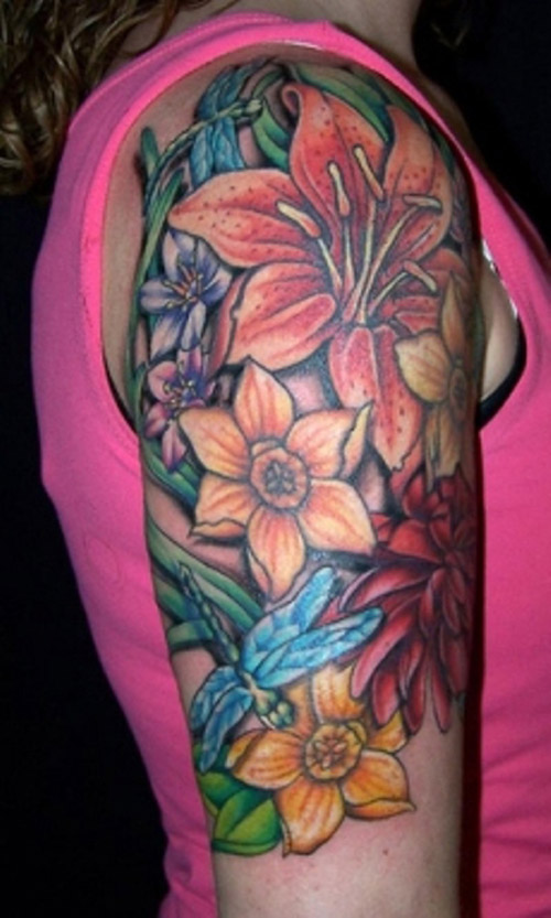 Dragonfly and colored flowers tattoos for women for Tattoos for girls flowers