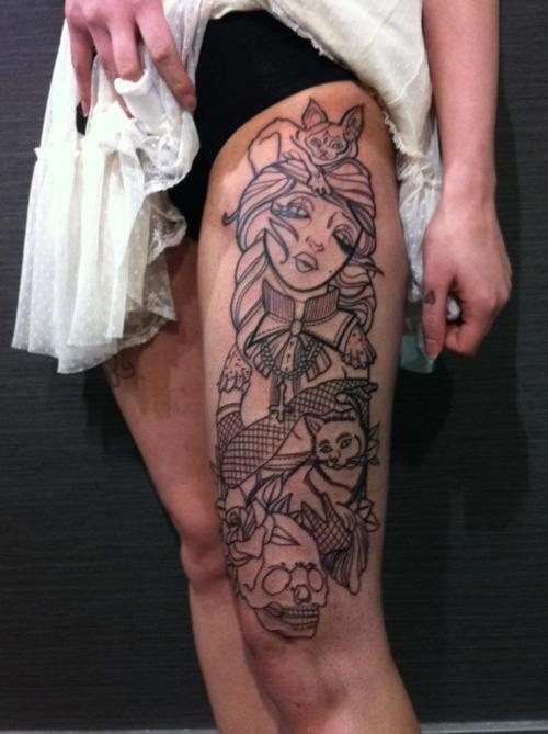 Girl head with flowers women tattoo on leg for Thigh sleeve tattoo