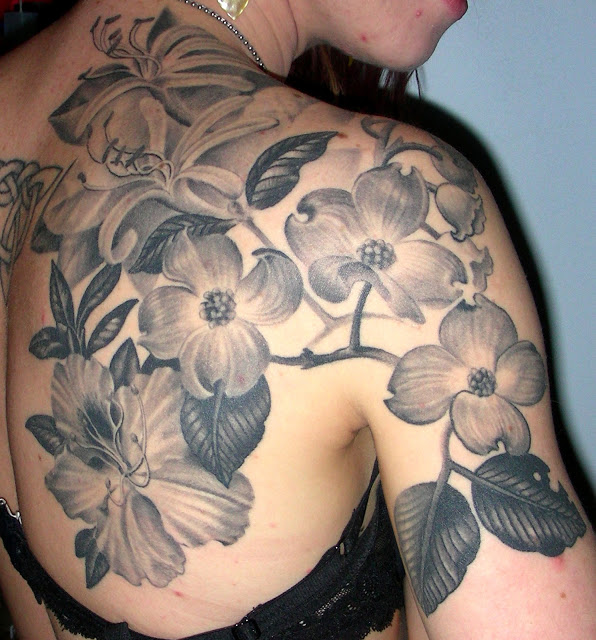 Grey Ink Flowers Back Shoulder Women Tattoo
