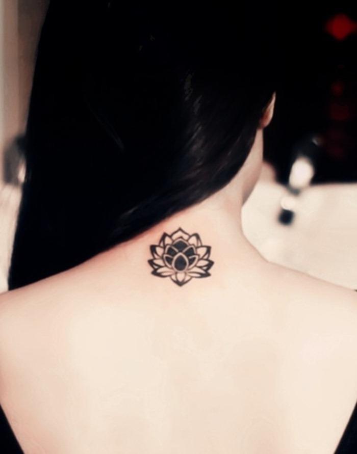 Grey Ink Lotus Flower Tattoo For Women