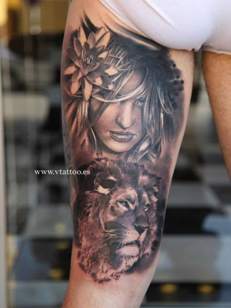 Realistic Lion Head And Girl Head Tattoo For Women