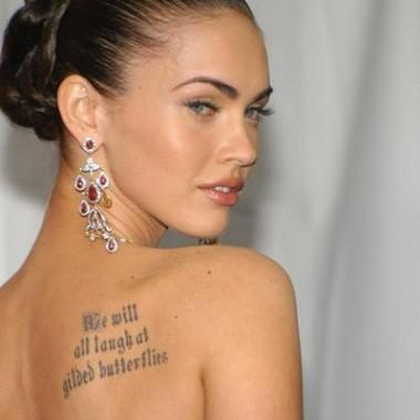 Women Quote Tattoo On Right Back Shoulder
