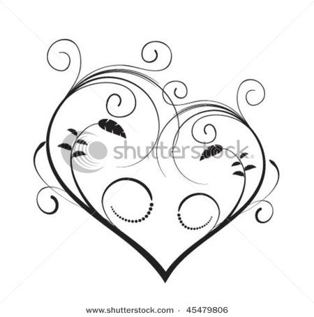 best swirl heart tattoo design