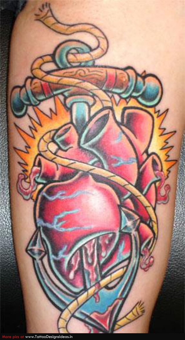 Anchor Heart Drawing Blue Ink Anchor And Real Heart