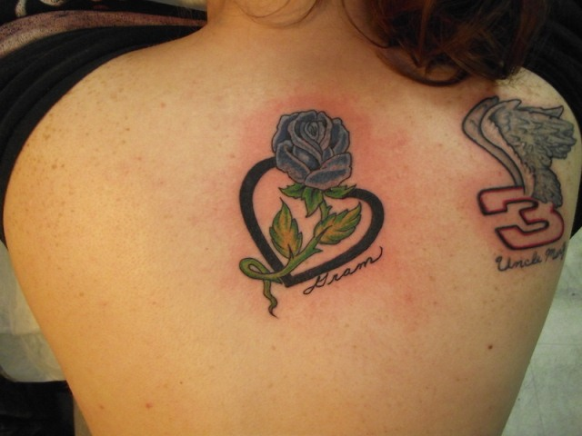 rose flower and banner heart tattoo design. Black Bedroom Furniture Sets. Home Design Ideas