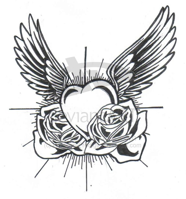 Flowers and winged heart tattoo design