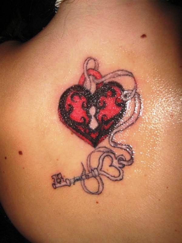 Lock heart and key tattoo on back for Heart lock and key tattoo