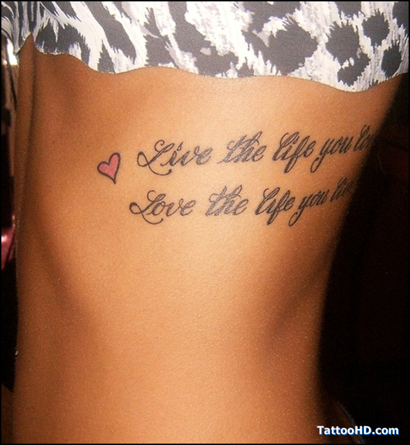 Tattoo Quotes On Side: Quote And Tiny Red Heart Tattoo On Side Rib