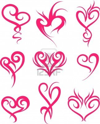 Tribal pink hearts tattoos designs for Pink heart tattoo