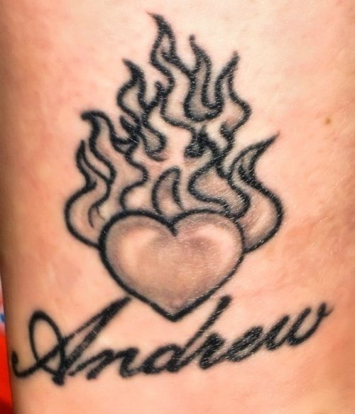 Andrew Flaming Heart Tattoo
