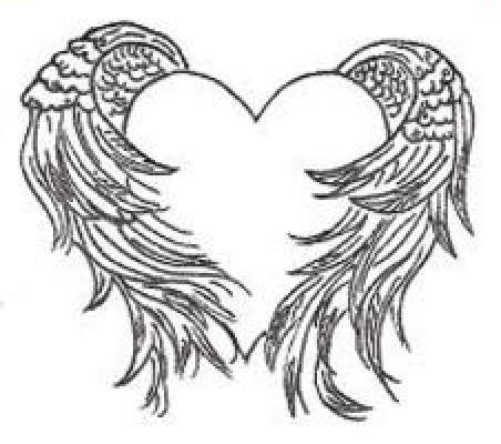 best grey ink winged heart tattoo design. Black Bedroom Furniture Sets. Home Design Ideas