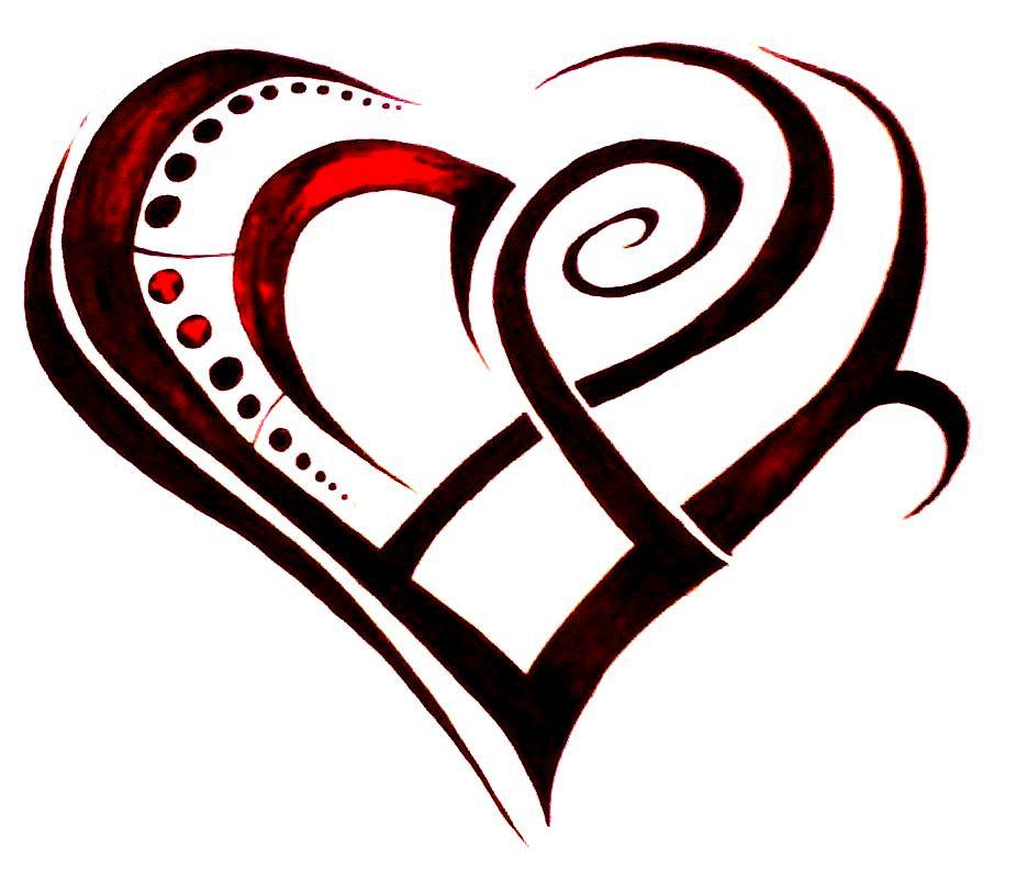 Cool Red And Black Ink Tribal Heart Tattoo Design