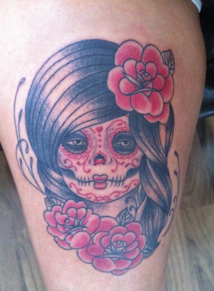 Dia De Los Muertos Tattoo On Thigh
