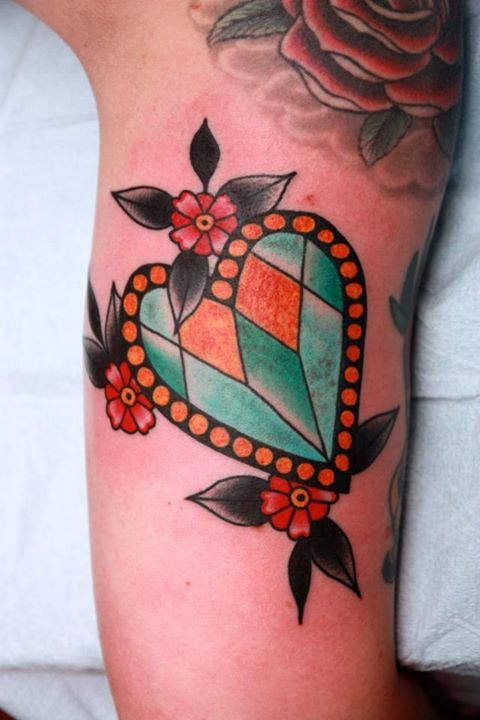 Gallery for diamond heart chest tattoo for Diamond heart tattoo