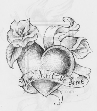 traditional heart tattoo designsLove Rose Sketch